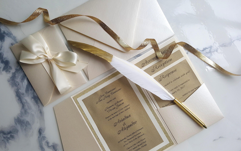 Ivory Wedding Invitations: Ivory Gold Wedding Invitations Ivory Pocket Fold Invites