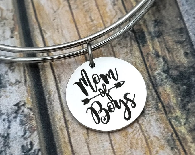 Mom of Boys Customizable Expandable Bangle Charm Bracelet, choose your charms, create your style, design your bracelet,