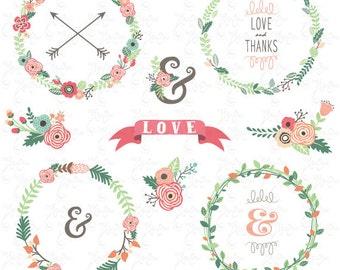 """Wreath clip art """"WEDDING FLOWER WREATH"""" Clipart,Vintage Flowers Wreath, Flower frames, Wedding Wreath,Wreath,Wedding invitation, Wd095"""