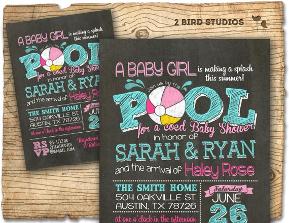 Pool party baby shower invitation summer baby shower coed pool party baby shower invitation summer baby shower coed baby shower invitation bbq baby q pool party invitation chalkboard girl filmwisefo Gallery
