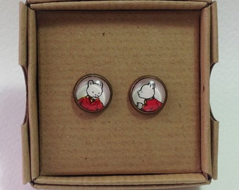 Vintage Rupert Bear Annual Stud Earrings