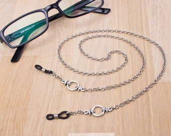 Mens silver eyeglass chain - Belcher chain & ring glasses lanyard   Everyday eyewear neck cord   Gents Sunglasses chain   Eyeglasses holder