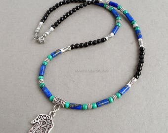 Mens Necklace, Hamsa Amulet Charm, Black Onyx, Blue Lapis, Green Malachite Gemstone Beaded Jewelry for Men, Guys