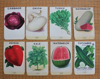 8 Vintage Unused Lithograph Vegetable Seed Packets
