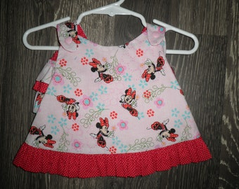 Pink Minnie Mouse Ruffled Pinafore