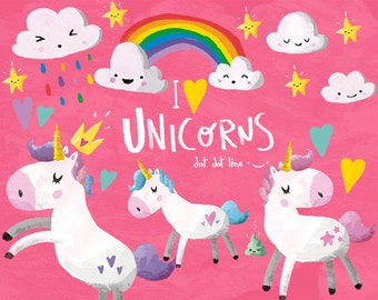 Unicorn Clipart Set- INSTANT DOWNLOAD Unicorn graphics, Unicorn Party, Magical, Magic, Cute Unicorn, Unicorn Illustration, Kawaii, Cute