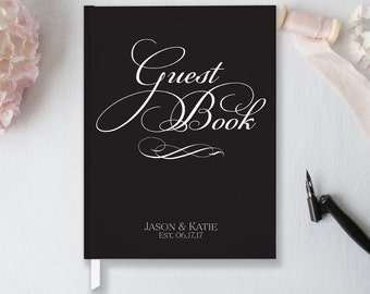 Classic Wedding Guest Book, Black and White Wedding Guestbook, Wedding Journal, Anniversary Guest Book, Wedding Planner Book, Choose Colors