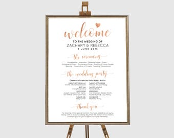Rose gold wedding program template, Wedding program sign, Program sign wedding, Wedding ceremony program sign, Ceremony program template