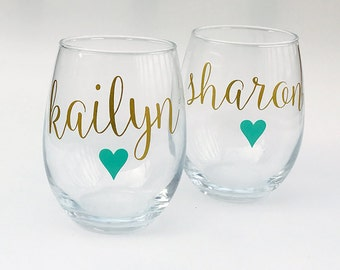 Personalized Wine Glasses - Stemless Wine Glass - Bridesmaid Gift Idea - Bachelorette Party - Bridesmaid Party Favors - Bridesmaid Glasses
