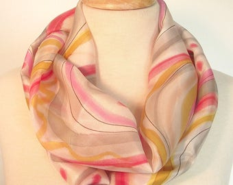 "Hand Painted Silk Infinity Scarf,  9x60"", Caramel, Pink, Cherry and Grey Swirls and Dots with Black Line on White Background"