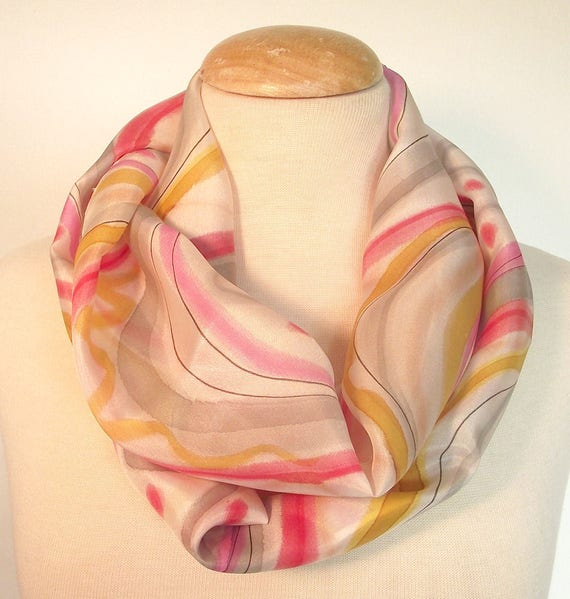 """Hand Painted Silk Infinity Scarf,  9x60"""", Caramel, Pink, Cherry and Grey Swirls and Dots with Black Line on White Background"""