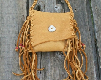 Crossbody bag ,  Fringed leather handbag , Fringed waist bag , Phone bag