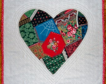 Handmade Quilted Heart Table Topper - Valentine's Day Heart