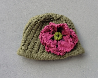 Bohemian Poppy Knit Hat Luxurious Accessory with Large Detachable Poppy Flower Brooch