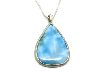 Large Larimar and Sterling Silver Pendant // Natural Blue Stone Necklace