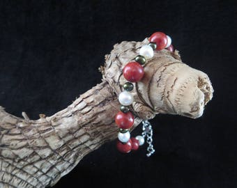 """""""sea treasure"""" bracelet with coral beads and freshwater pearls"""