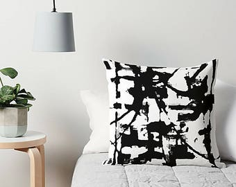 Black And White, Art Pillow, Throw Pillow, Sofa Pillow, Couch Pillow, Abstract Pillow, Accent Pillow, Modern Art Pillow, 16x16 18x18 20x20