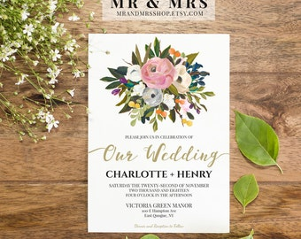 Editable Floral Wedding Invitation Suite, Customized Instant Download PDF Invitation Digital Printable, Watercolor, Calligraphy, MAM104_A