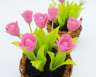 Miniature Polymer Clay Flowers Spring Blooming Tulip, set of 2 Baskets