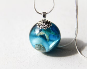 mothers day Natural jewelry Terrarium necklace Beach jewelry Summer pendant Resin pendant Seashell jewelry starfish seabed Resin real shells