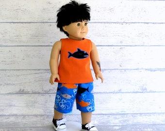 American Boy Doll Shark Shorts and Tank Top, 18 inch Boy Doll Board Shorts & Muscle Tee