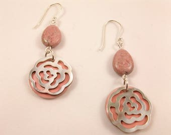 Rhodonite earrings and round flower mother of Pearl