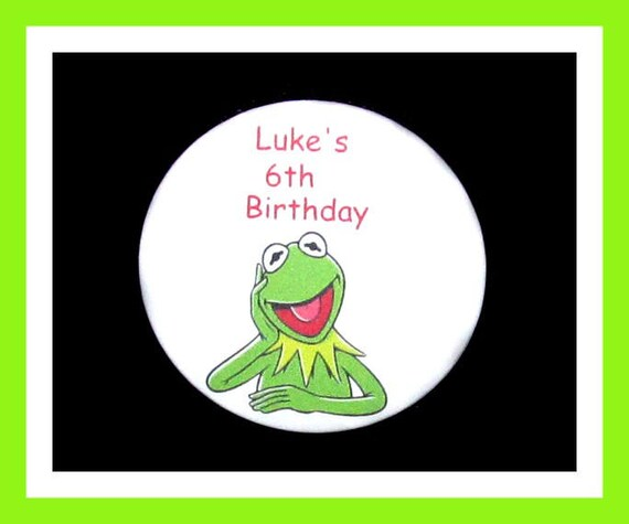 Birthday Party FavorPersonalized Button,Kermit Frog Pin Favor,School Favor,Kid Party Favor,Boy Birthday,Girl BirthdayPin,Favor Tag Set of 10