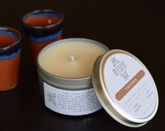 Enigma - Bookish Handmade Soy Candle inspired by Doyle's The Adventures of Sherlock Holmes. Chocolate scented book candle. Book Lovers Gift