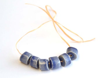 Handmade Ceramic Beads Tube in SoftBlue