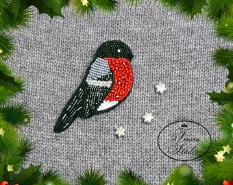 Snowbird seed bead embroidered brooch