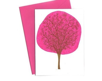 Pink Tree Notecards Set of Three Gocco Printed Cards
