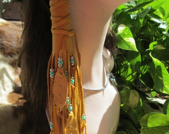 Native American One Gold Deerskin Leather With Turquoise and Silver Beads Gold Leather Feathers Hair Wrap