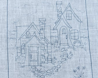 2 Houses Rug Hooking Pattern
