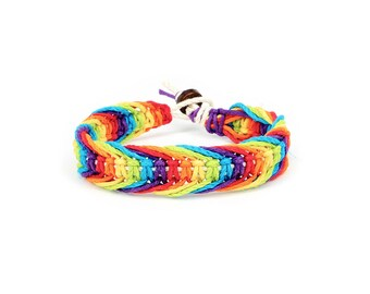 Rainbow Bracelet, Rainbow Hemp Bracelet, Pride Bracelet