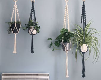 The Spiral Crown Macrame Plant Hanger // Natural Cotton // in 2 sizes // Natural Cotton, Black, Grey, Soft Pink, Soft Blue & Burgundy.