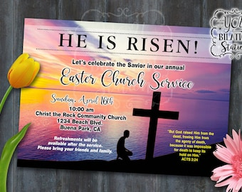 "Easter Church Service/Mass/Gathering Invitation (Religious ""He Is Risen"") Printable Downloadable File"