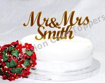 Personalised Wedding Cake Topper Mr&Mrs, Mr/Mr, Mrs/Mrs Surname - unique glitter acrylic decoration keepsake silver or gold