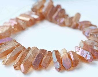 Mystic Copper Orange Coated Crystal Quartz Top Drilled Briolette Sticks 27mm to 52mm -1/2 Strand