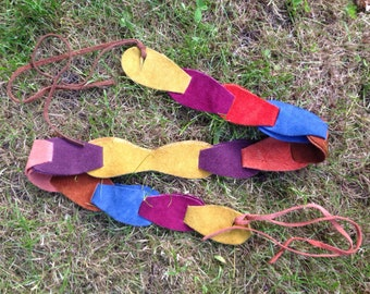 ORIGINAL 60s 70s rainbow multicoloured suede hippie mod psych folk panel belt ADJUSTABLE