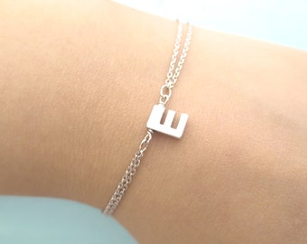 Personalized, Capital letter, Initial, Double layering chain, Gold, Silver, Bracelet, Birthday, Friendship, Valentine, Gift, Jewelry