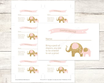 pink and gold diaper raffle tickets printable baby girl shower DIY pink gold elephant baby digital shower games - INSTANT DOWNLOAD