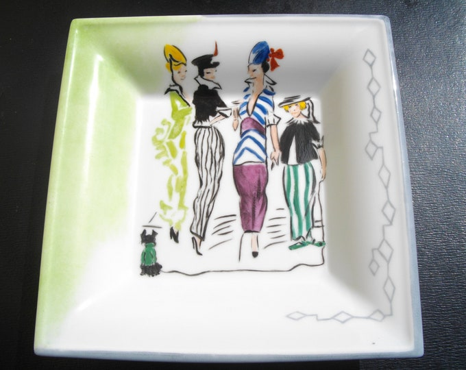 empty Pocket square / China / handpainted / characters / limoges /.
