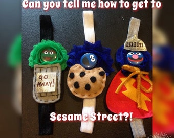 Sesame Street Girls Headbands Elmo Grover Coomie Monster Oscar The Grouch Ernie Big Bird