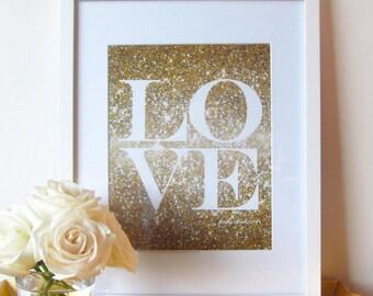 Glitter Love Print - Gold Glitter - Love - Glitter - Wall Art - Typographic Print