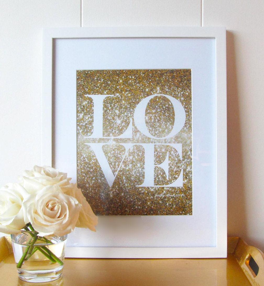 Glitter Love Print Gold Glitter Love Glitter Wall Art