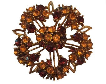 Vintage Brown Rhinestone Flower & Leaf Pin Brooch