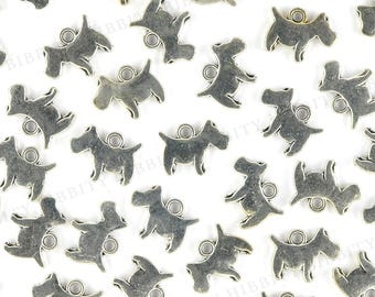 Scottie Dog Charms Antique Silver - 10 pcs - 12mm x 16mm - Pewter Charm, Scottish Terrier, Puppy, Pet, Charm Bracelet, Charm Jewelry - AS-38
