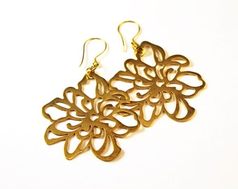 The Tosca Large Vermeil Flower Earrings with Bali Vermeil Earwires