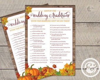 INSTANT DOWNLOAD: Bridal Shower Game - Fall In Love - Wedding Traditions and Why We Do Them Matching Game