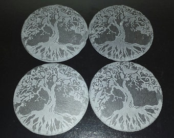 Tree of Life Etched Slate Coasters